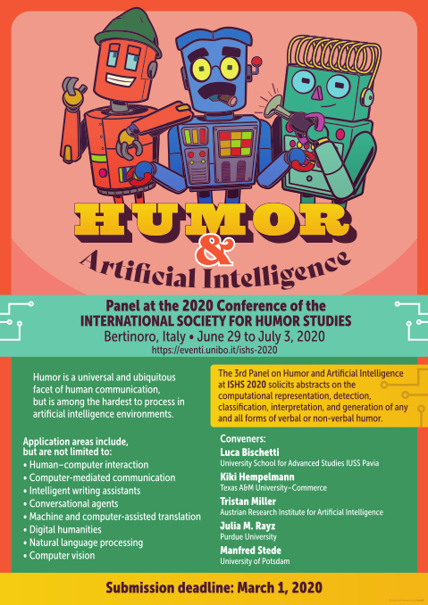 A poster advertising the 3rd Panel on Humor and Artificial Intelligence at the 2020 ISHS Conference